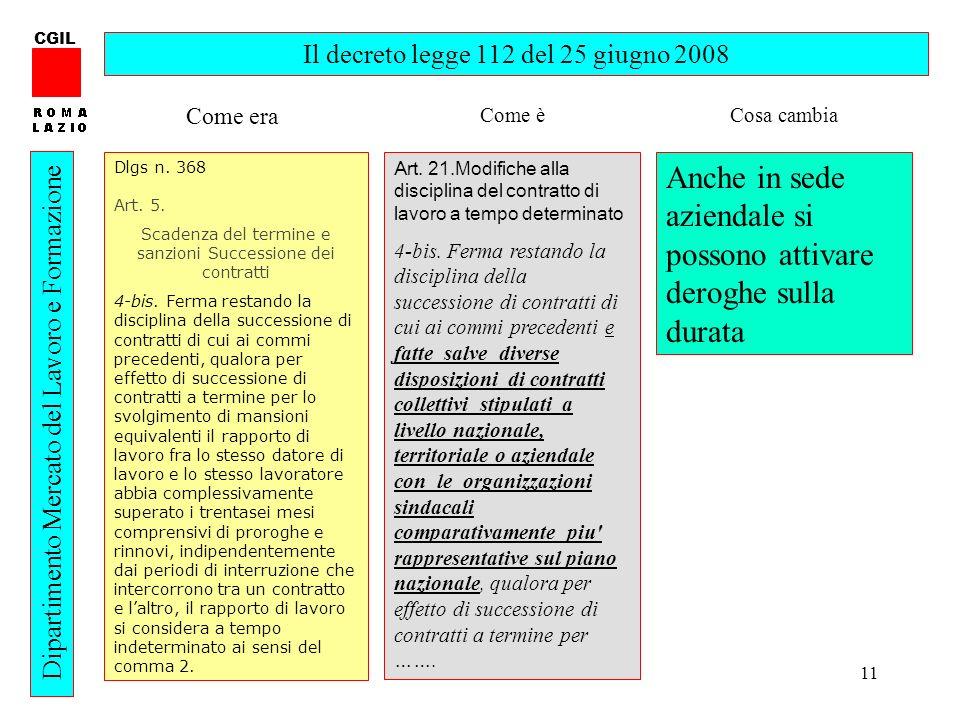 11 CGIL Dipartimento Mercato del Lavoro e Formazione Il decreto legge 112 del 25 giugno 2008 Dlgs n. 368 Art. 5. Scadenza del termine e sanzioni Succe