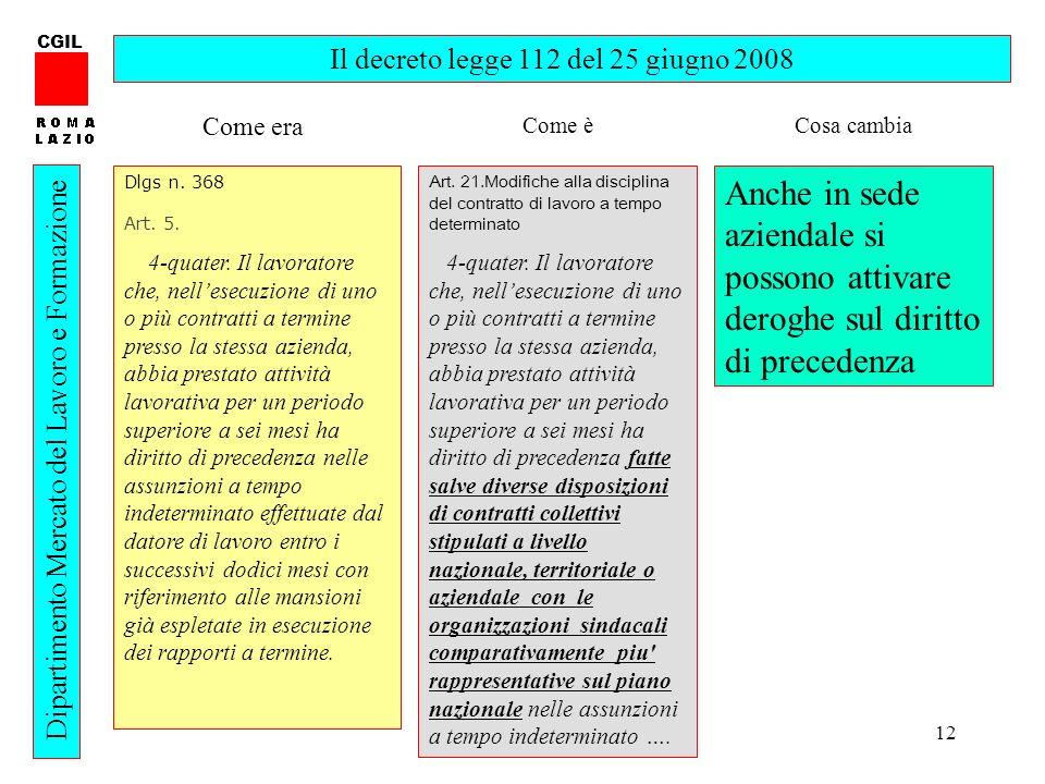 12 CGIL Dipartimento Mercato del Lavoro e Formazione Il decreto legge 112 del 25 giugno 2008 Dlgs n. 368 Art. 5. 4-quater. Il lavoratore che, nellesec