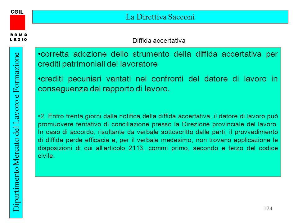 124 CGIL Dipartimento Mercato del Lavoro e Formazione La Direttiva Sacconi corretta adozione dello strumento della diffida accertativa per crediti pat