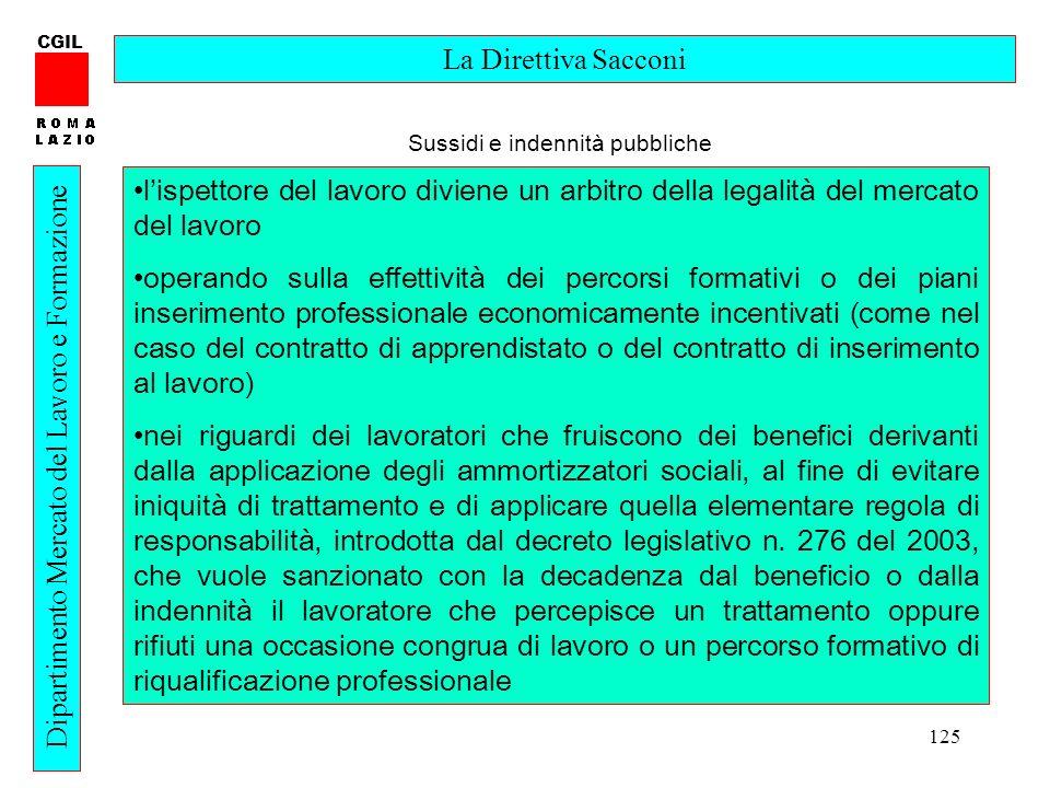 125 CGIL Dipartimento Mercato del Lavoro e Formazione La Direttiva Sacconi lispettore del lavoro diviene un arbitro della legalità del mercato del lav