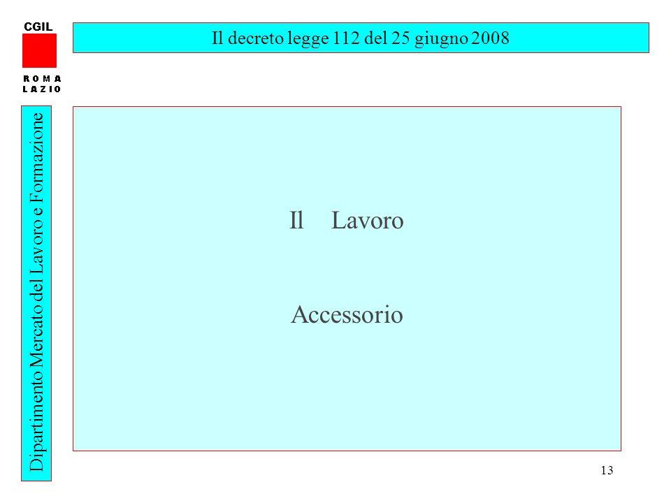 13 CGIL Dipartimento Mercato del Lavoro e Formazione Il decreto legge 112 del 25 giugno 2008 Il Lavoro Accessorio