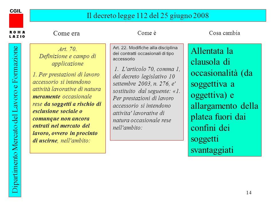 14 CGIL Dipartimento Mercato del Lavoro e Formazione Il decreto legge 112 del 25 giugno 2008 Art. 70. Definizione e campo di applicazione 1. Per prest