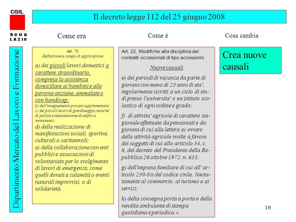 16 CGIL Dipartimento Mercato del Lavoro e Formazione Il decreto legge 112 del 25 giugno 2008 Art. 70. Definizione e campo di applicazione a) dei picco