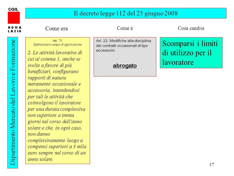 17 CGIL Dipartimento Mercato del Lavoro e Formazione Il decreto legge 112 del 25 giugno 2008 Art. 70. Definizione e campo di applicazione 2. Le attivi