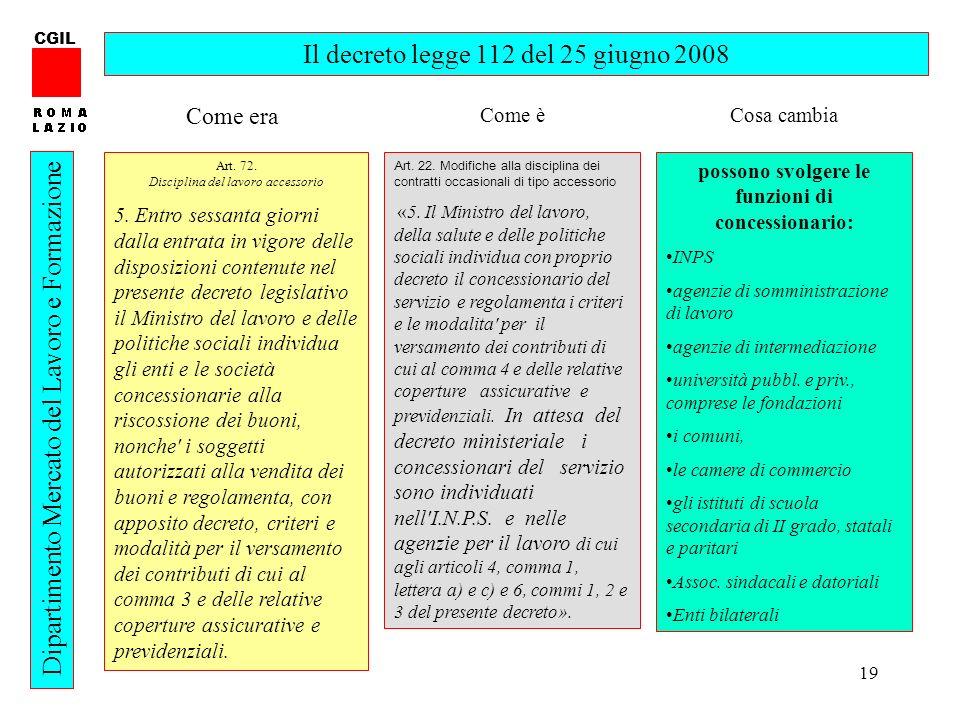 19 CGIL Dipartimento Mercato del Lavoro e Formazione Il decreto legge 112 del 25 giugno 2008 Art. 72. Disciplina del lavoro accessorio 5. Entro sessan