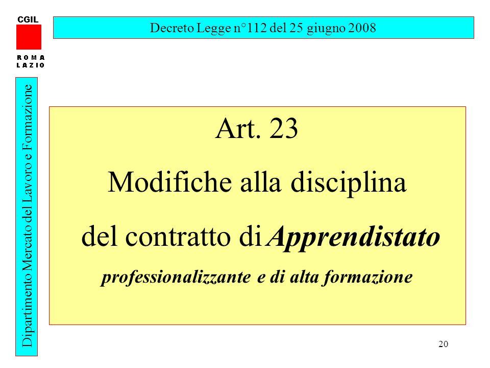 20 CGIL Dipartimento Mercato del Lavoro e Formazione Decreto Legge n°112 del 25 giugno 2008 Art. 23 Modifiche alla disciplina del contratto di Apprend