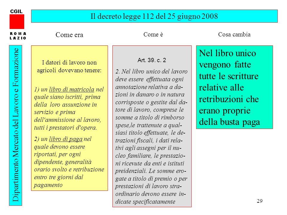 29 CGIL Dipartimento Mercato del Lavoro e Formazione Il decreto legge 112 del 25 giugno 2008 I datori di lavoro non agricoli dovevano tenere: 1) un li