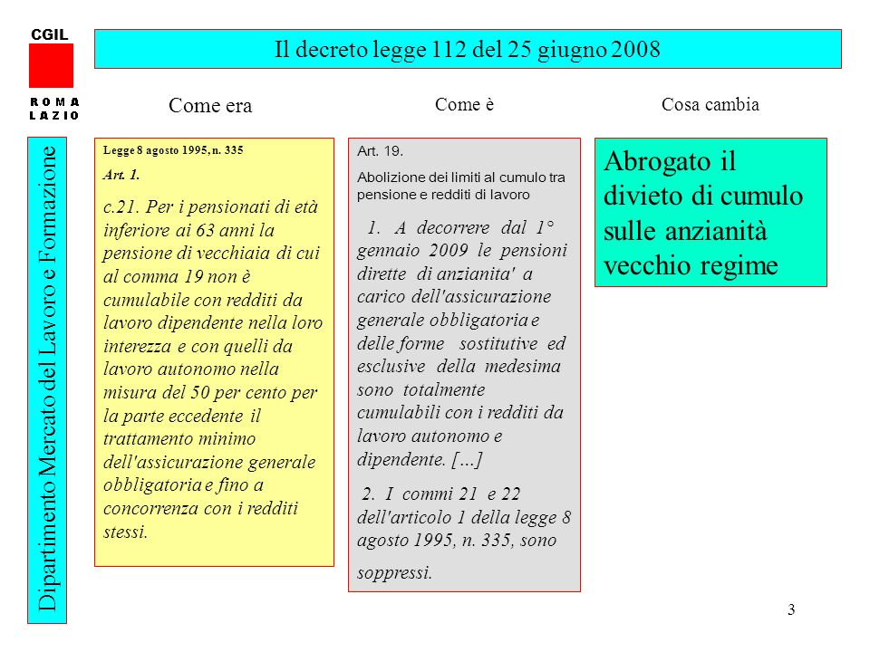 3 CGIL Dipartimento Mercato del Lavoro e Formazione Il decreto legge 112 del 25 giugno 2008 Legge 8 agosto 1995, n. 335 Art. 1. c.21. Per i pensionati