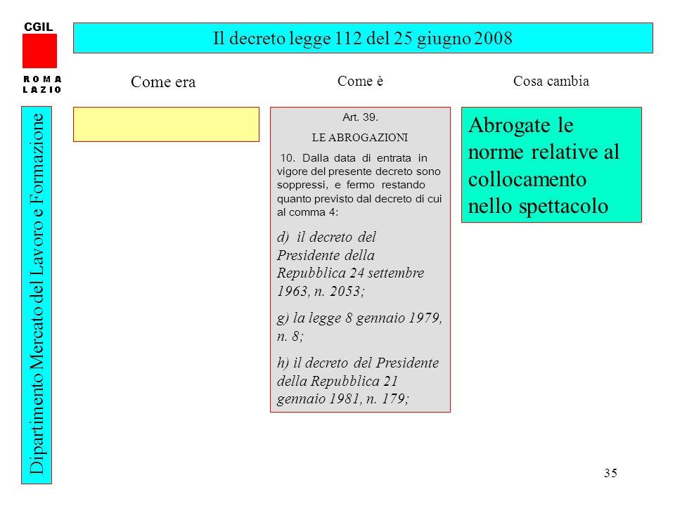 35 CGIL Dipartimento Mercato del Lavoro e Formazione Il decreto legge 112 del 25 giugno 2008 Art. 39. LE ABROGAZIONI 10. Dalla data di entrata in vigo