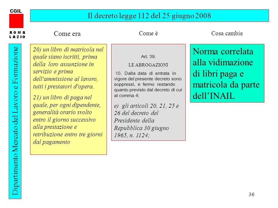 36 CGIL Dipartimento Mercato del Lavoro e Formazione Il decreto legge 112 del 25 giugno 2008 20) un libro di matricola nel quale siano iscritti, prima