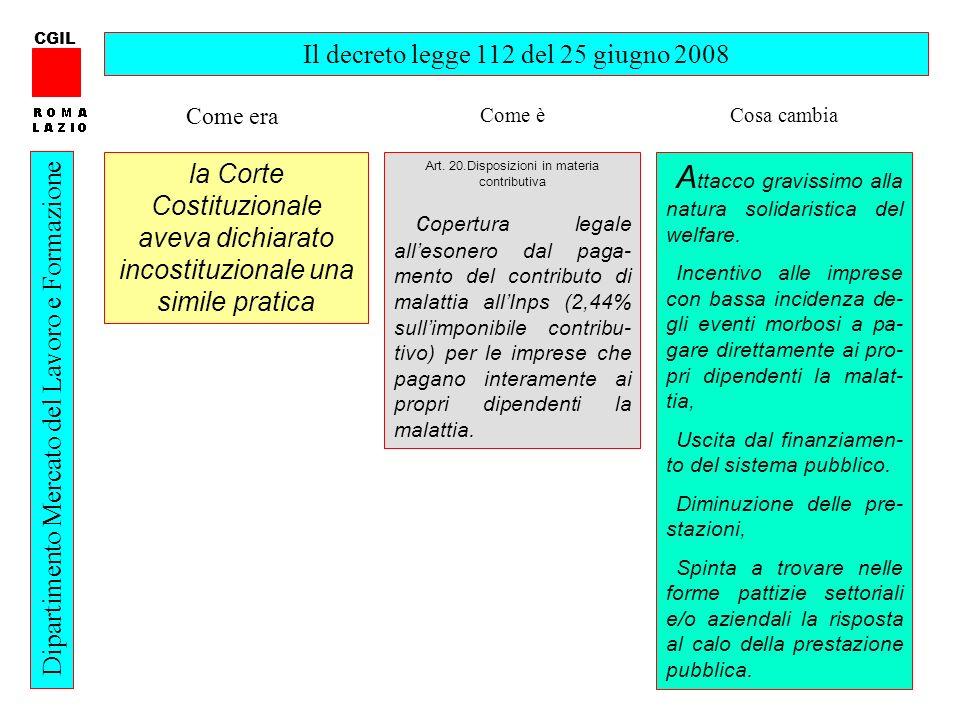 16 CGIL Dipartimento Mercato del Lavoro e Formazione Il decreto legge 112 del 25 giugno 2008 Art.
