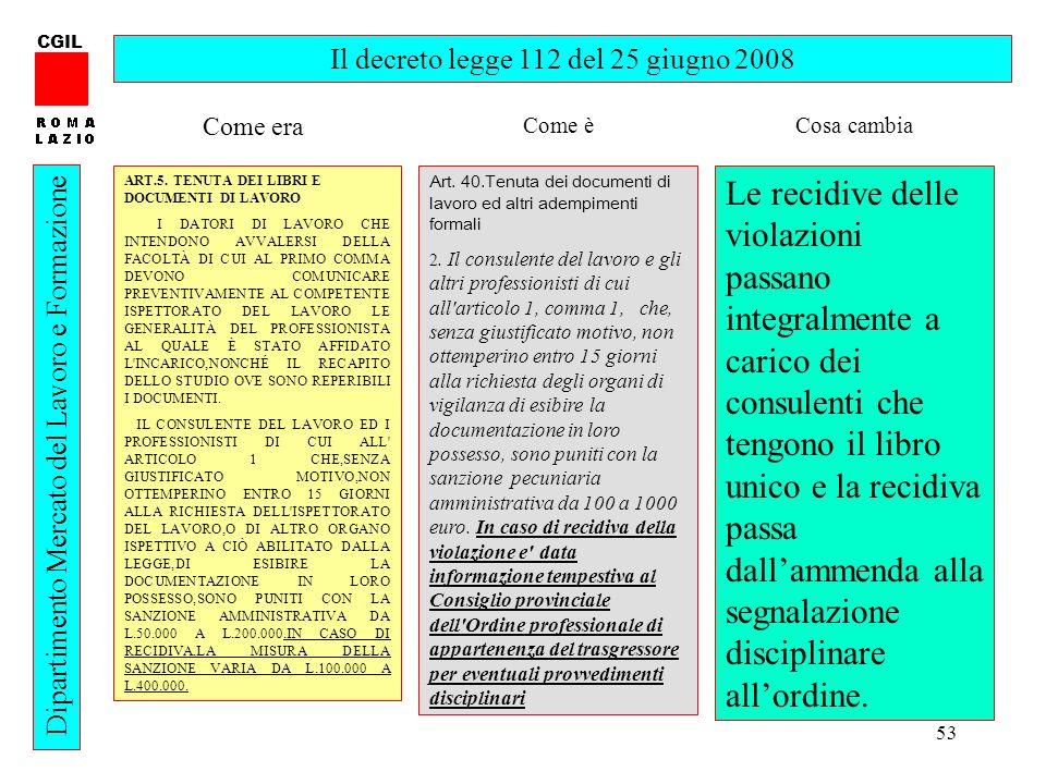 53 CGIL Dipartimento Mercato del Lavoro e Formazione Il decreto legge 112 del 25 giugno 2008 ART.5. TENUTA DEI LIBRI E DOCUMENTI DI LAVORO I DATORI DI