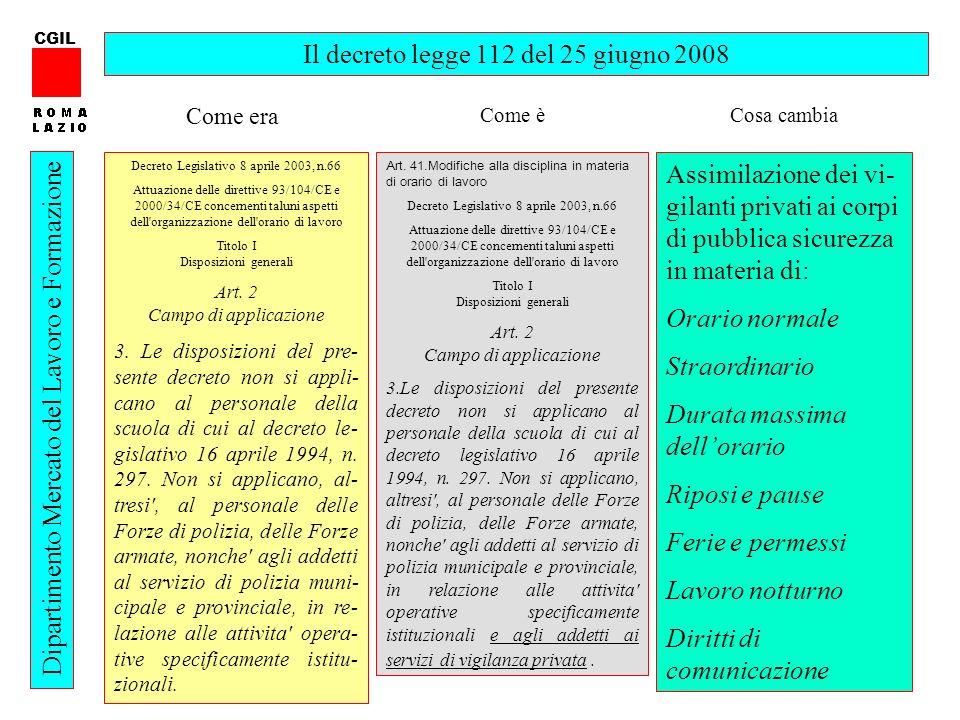 58 CGIL Dipartimento Mercato del Lavoro e Formazione Il decreto legge 112 del 25 giugno 2008 Decreto Legislativo 8 aprile 2003, n.66 Attuazione delle
