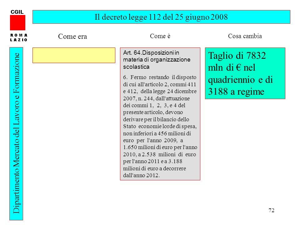 72 CGIL Dipartimento Mercato del Lavoro e Formazione Il decreto legge 112 del 25 giugno 2008 Art. 64.Disposizioni in materia di organizzazione scolast