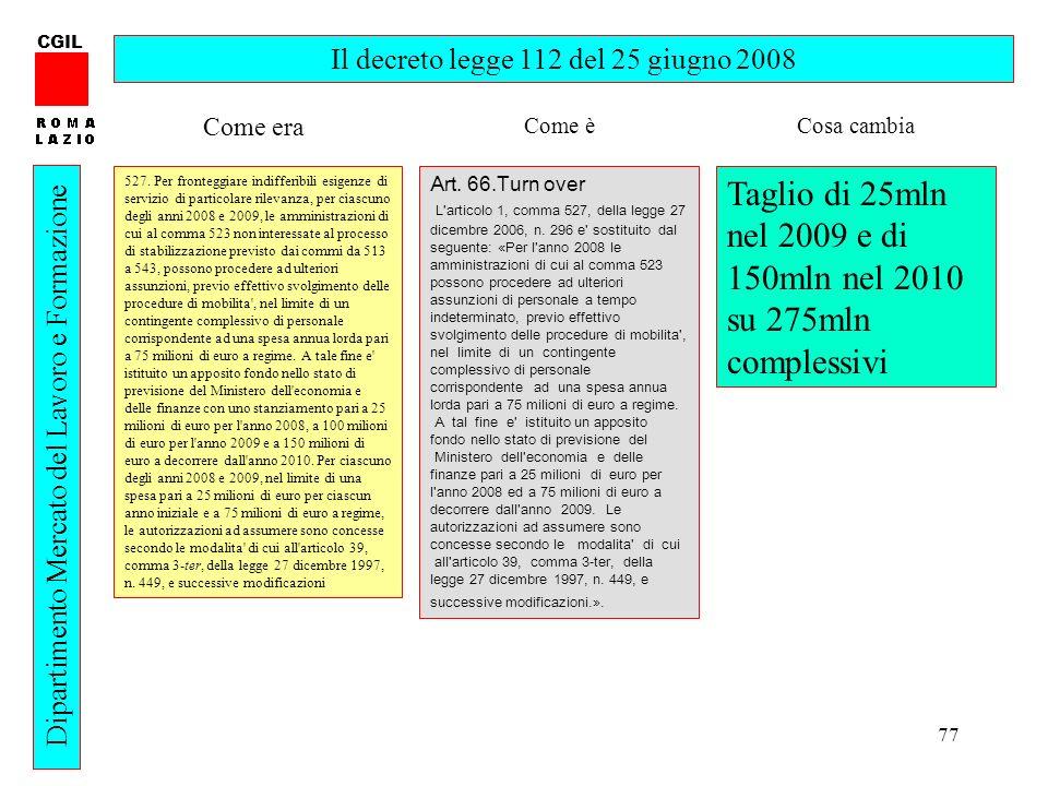 77 CGIL Dipartimento Mercato del Lavoro e Formazione Il decreto legge 112 del 25 giugno 2008 527. Per fronteggiare indifferibili esigenze di servizio