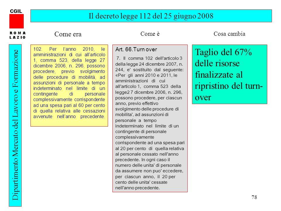78 CGIL Dipartimento Mercato del Lavoro e Formazione Il decreto legge 112 del 25 giugno 2008 102. Per lanno 2010, le amministrazioni di cui allarticol