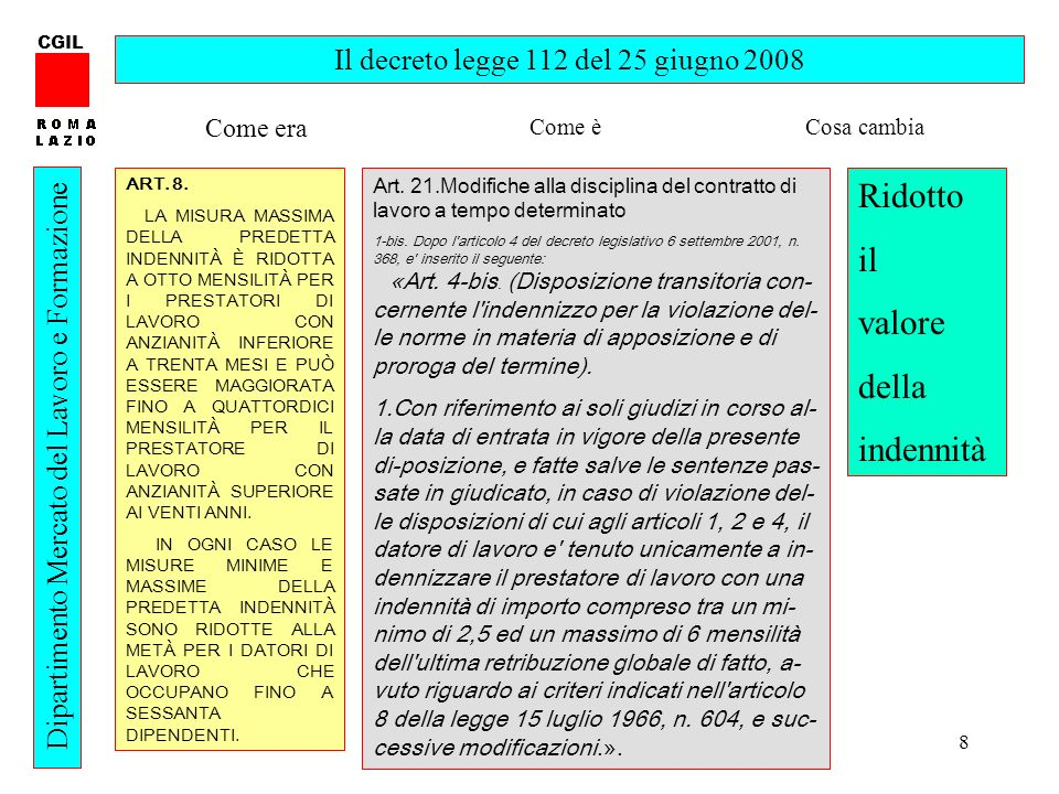 8 CGIL Dipartimento Mercato del Lavoro e Formazione Il decreto legge 112 del 25 giugno 2008 ART. 8. LA MISURA MASSIMA DELLA PREDETTA INDENNITÀ È RIDOT