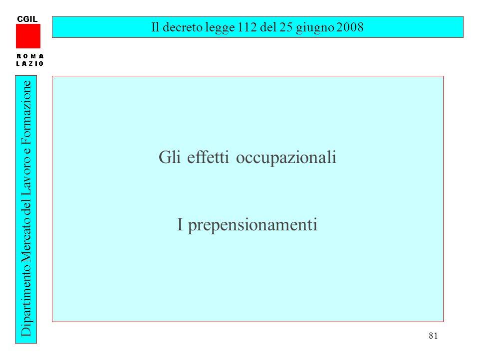 81 CGIL Dipartimento Mercato del Lavoro e Formazione Il decreto legge 112 del 25 giugno 2008 Gli effetti occupazionali I prepensionamenti