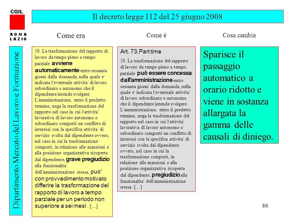 86 CGIL Dipartimento Mercato del Lavoro e Formazione Il decreto legge 112 del 25 giugno 2008 58. La trasformazione del rapporto di lavoro da tempo pie