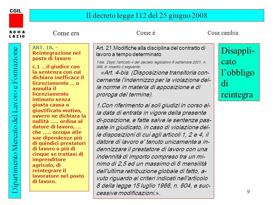 9 CGIL Dipartimento Mercato del Lavoro e Formazione Il decreto legge 112 del 25 giugno 2008 ART. 18. - Reintegrazione nel posto di lavoro c.1 …il giud