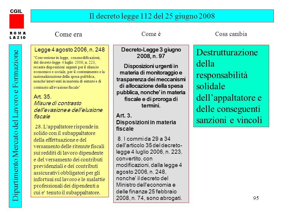 95 CGIL Dipartimento Mercato del Lavoro e Formazione Il decreto legge 112 del 25 giugno 2008 Legge 4 agosto 2006, n. 248