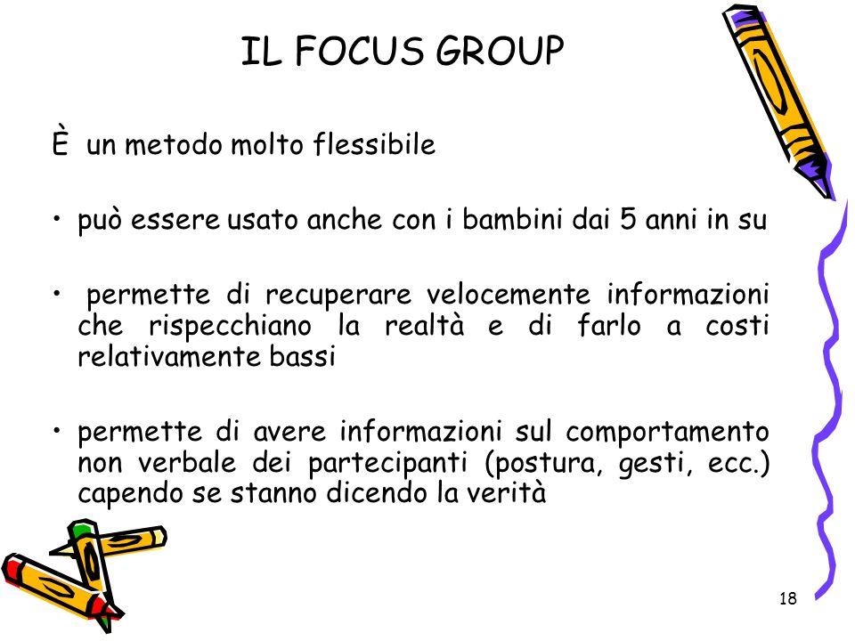 18 IL FOCUS GROUP È un metodo molto flessibile può essere usato anche con i bambini dai 5 anni in su permette di recuperare velocemente informazioni c