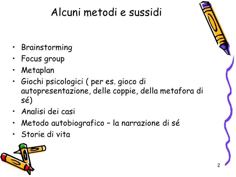 2 Brainstorming Focus group Metaplan Giochi psicologici ( per es. gioco di autopresentazione, delle coppie, della metafora di sé) Analisi dei casi Met