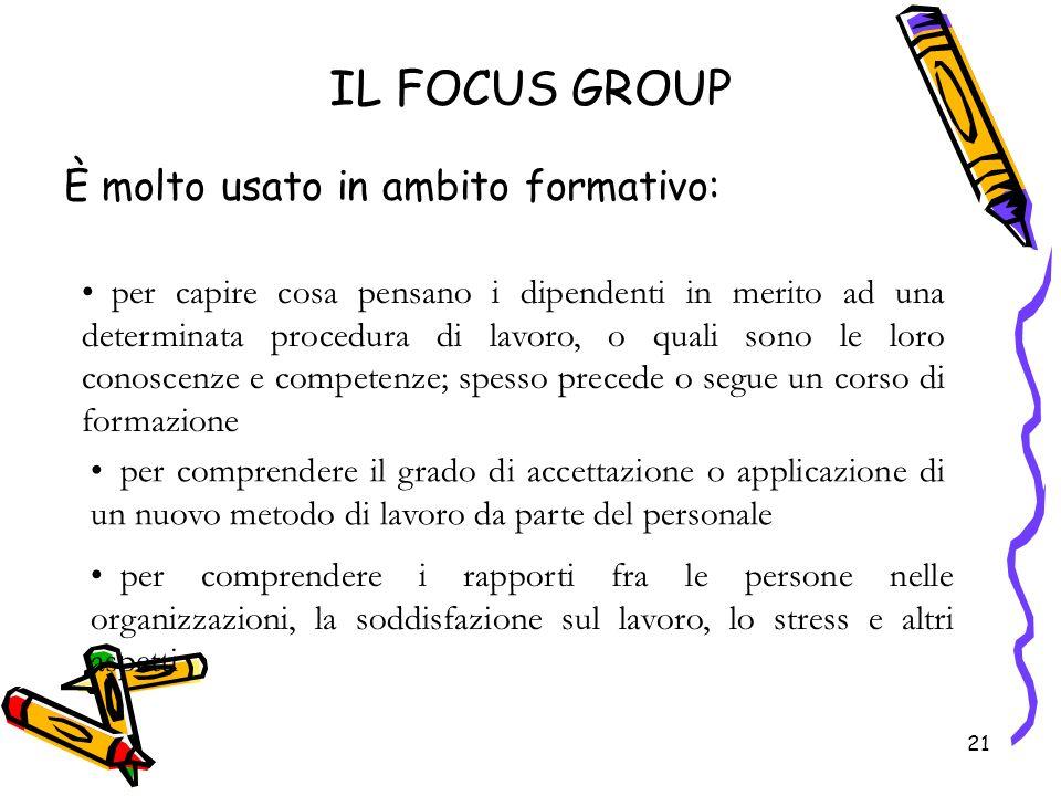 21 IL FOCUS GROUP È molto usato in ambito formativo: 21 per capire cosa pensano i dipendenti in merito ad una determinata procedura di lavoro, o quali
