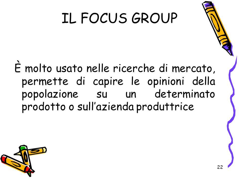 22 IL FOCUS GROUP È molto usato nelle ricerche di mercato, permette di capire le opinioni della popolazione su un determinato prodotto o sullazienda p