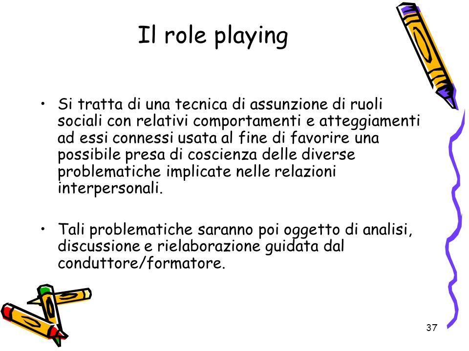 37 Il role playing Si tratta di una tecnica di assunzione di ruoli sociali con relativi comportamenti e atteggiamenti ad essi connessi usata al fine d