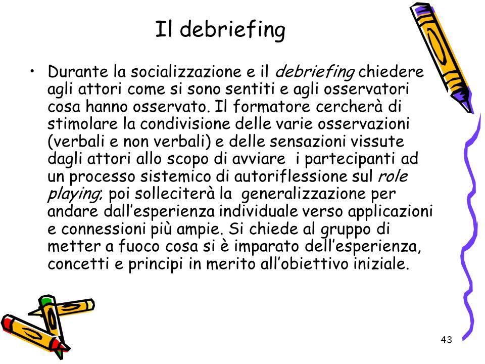 43 Il debriefing Durante la socializzazione e il debriefing chiedere agli attori come si sono sentiti e agli osservatori cosa hanno osservato. Il form