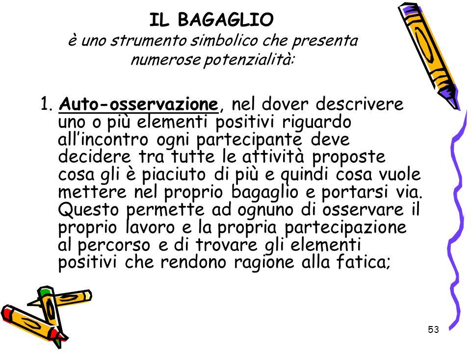 53 IL BAGAGLIO è uno strumento simbolico che presenta numerose potenzialità: 1. Auto-osservazione, nel dover descrivere uno o più elementi positivi ri