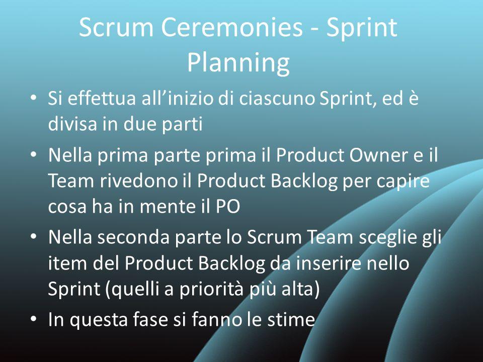 Scrum Ceremonies - Sprint Planning Si effettua allinizio di ciascuno Sprint, ed è divisa in due parti Nella prima parte prima il Product Owner e il Te
