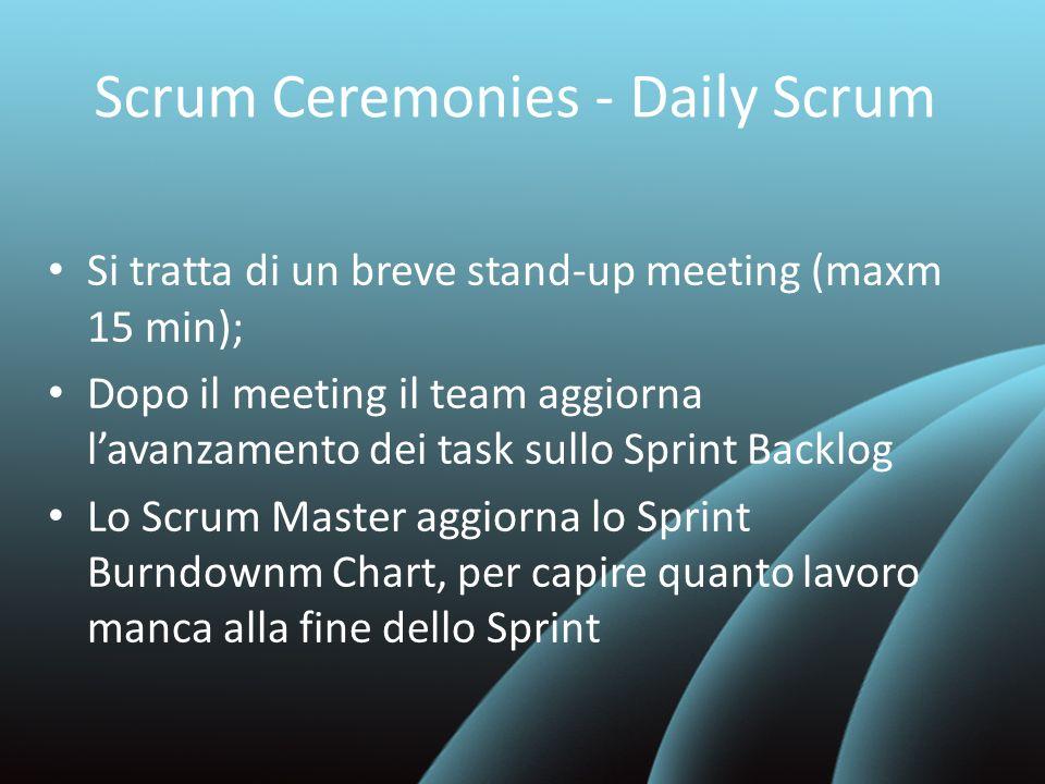 Scrum Ceremonies - Daily Scrum Si tratta di un breve stand-up meeting (maxm 15 min); Dopo il meeting il team aggiorna lavanzamento dei task sullo Spri