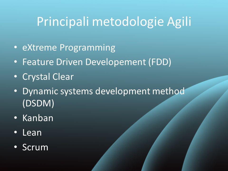 eXtreme Programming XP si basa su 12 pratiche fondamentali – Test Driven Development – Continuous Integration – Small Releases – Coding Standard – Pair Programming – … – ….