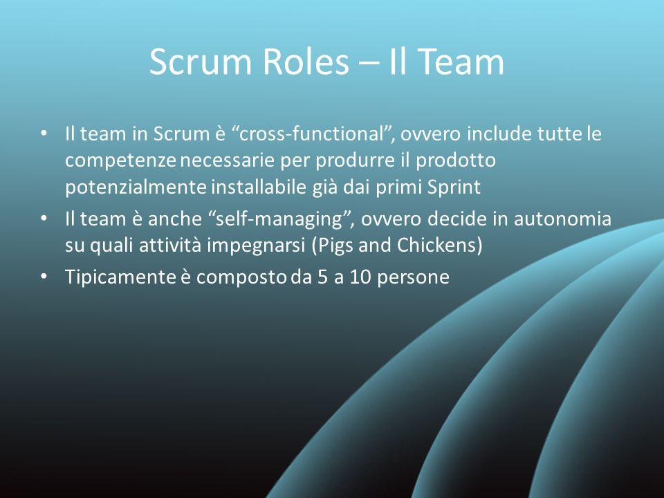 Scrum Roles – Il Team Il team in Scrum è cross-functional, ovvero include tutte le competenze necessarie per produrre il prodotto potenzialmente insta