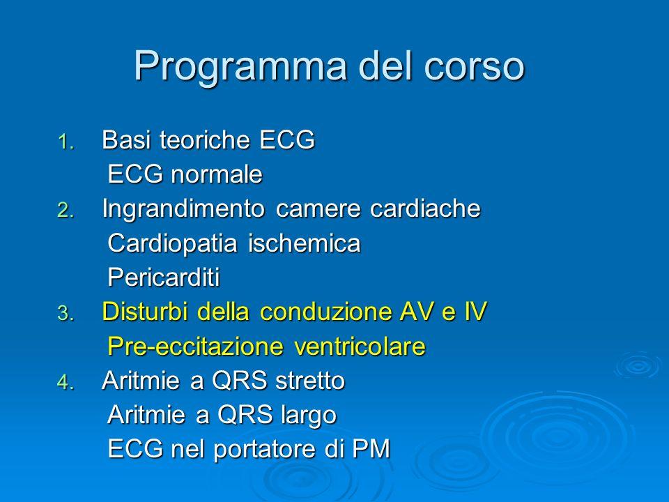 Programma del corso 1. Basi teoriche ECG ECG normale ECG normale 2. Ingrandimento camere cardiache Cardiopatia ischemica Cardiopatia ischemica Pericar