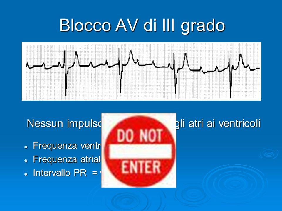 Blocco AV di III grado Nessun impulso è condotto dagli atri ai ventricoli Frequenza ventricolare = 37 bpm Frequenza atriale = 130 bpm Intervallo PR =