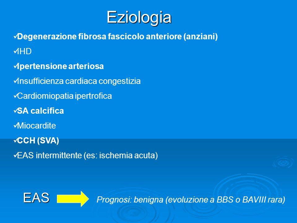 EAS Eziologia Degenerazione fibrosa fascicolo anteriore (anziani) IHD Ipertensione arteriosa Insufficienza cardiaca congestizia Cardiomiopatia ipertro