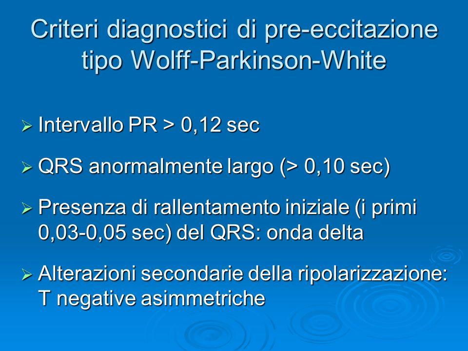 Criteri diagnostici di pre-eccitazione tipo Wolff-Parkinson-White Intervallo PR > 0,12 sec Intervallo PR > 0,12 sec QRS anormalmente largo (> 0,10 sec