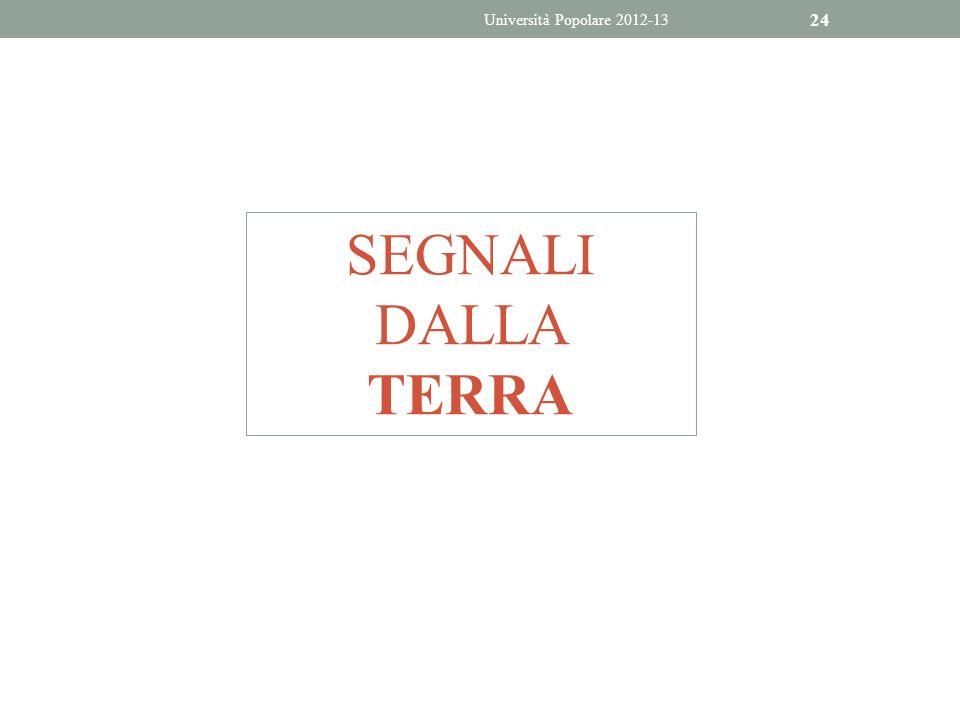 24 SEGNALI DALLA TERRA Università Popolare 2012-13