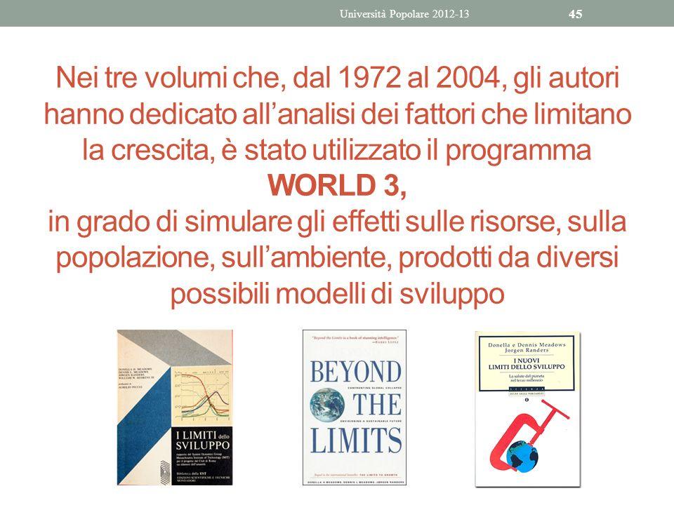 Nei tre volumi che, dal 1972 al 2004, gli autori hanno dedicato allanalisi dei fattori che limitano la crescita, è stato utilizzato il programma WORLD