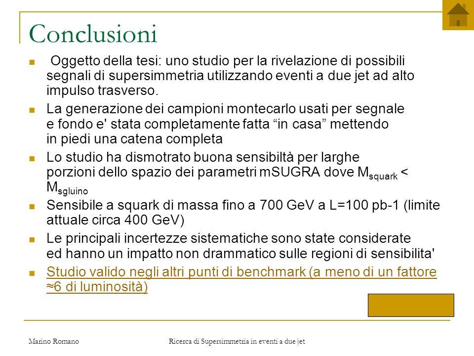 Marino Romano Ricerca di Supersimmetria in eventi a due jet Slides di Backup Cliccami per chiudere