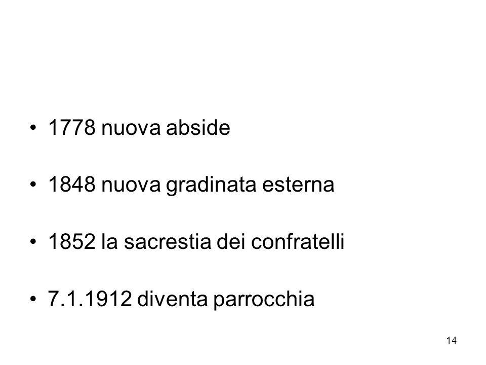 14 1778 nuova abside 1848 nuova gradinata esterna 1852 la sacrestia dei confratelli 7.1.1912 diventa parrocchia