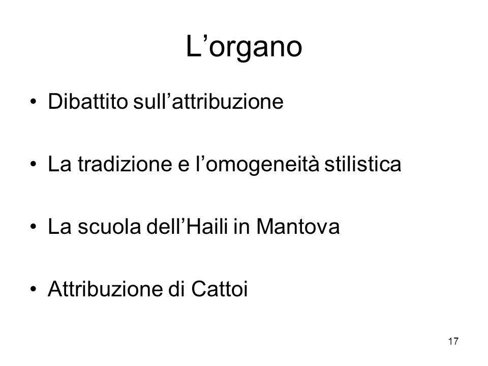 17 Lorgano Dibattito sullattribuzione La tradizione e lomogeneità stilistica La scuola dellHaili in Mantova Attribuzione di Cattoi