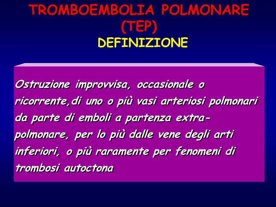 TROMBOEMBOLIA POLMONARE (TEP) DEFINIZIONE Ostruzione improvvisa, occasionale o ricorrente,di uno o più vasi arteriosi polmonari da parte di emboli a p