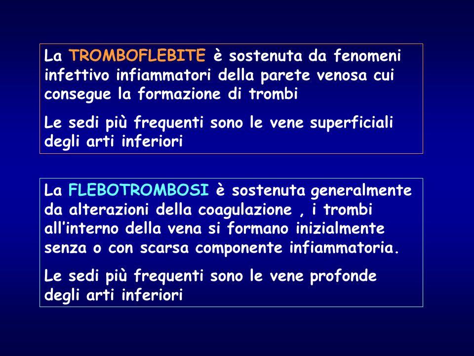 La TROMBOFLEBITE è sostenuta da fenomeni infettivo infiammatori della parete venosa cui consegue la formazione di trombi Le sedi più frequenti sono le