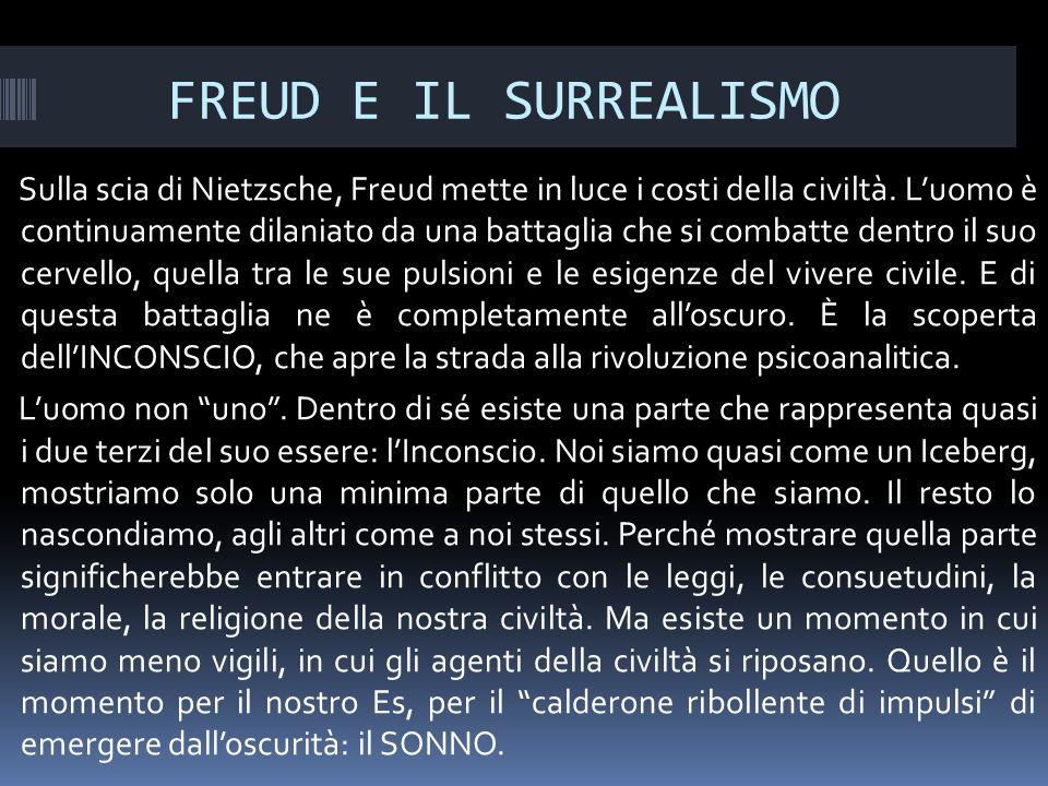 FREUD E IL SURREALISMO Sulla scia di Nietzsche, Freud mette in luce i costi della civiltà.