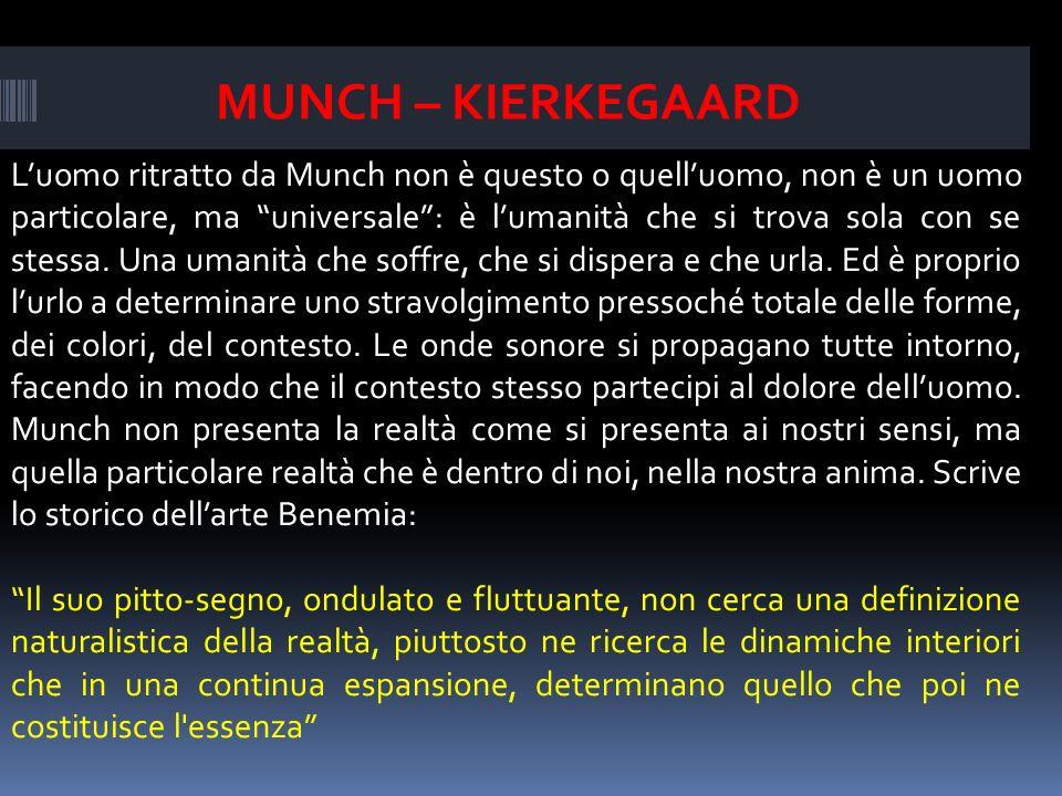 Luomo ritratto da Munch non è questo o quelluomo, non è un uomo particolare, ma universale: è lumanità che si trova sola con se stessa.