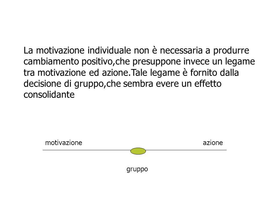 La motivazione individuale non è necessaria a produrre cambiamento positivo,che presuppone invece un legame tra motivazione ed azione.Tale legame è fo